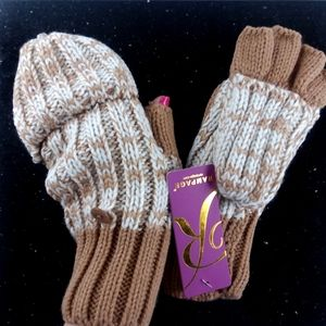 NWT RAMPAGE Marled Knit Convertible Mitten Gloves